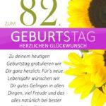 Schlichte Geburtstagskarte mit Sonnenblumen zum 82. Geburtstag