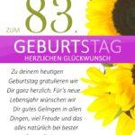 Schlichte Geburtstagskarte mit Sonnenblumen zum 83. Geburtstag