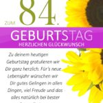 Schlichte Geburtstagskarte mit Sonnenblumen zum 84. Geburtstag