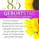Schlichte Geburtstagskarte mit Sonnenblumen zum 85. Geburtstag