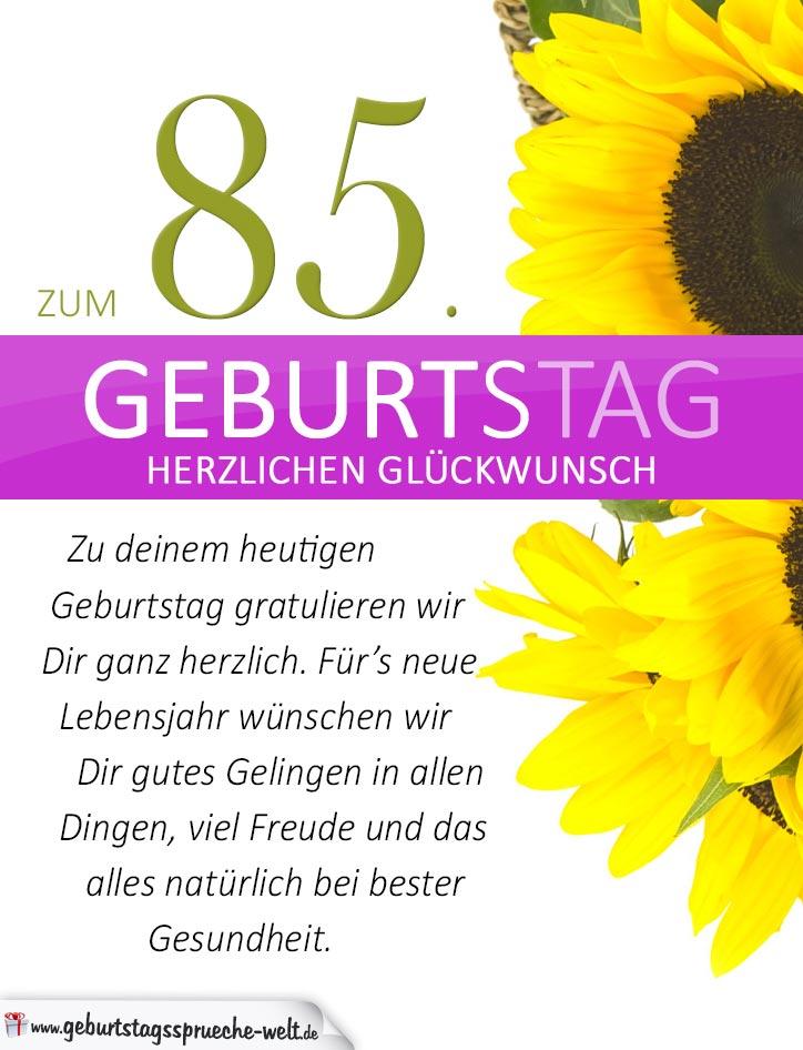 Schlichte Geburtstagskarte Mit Sonnenblumen Zum 85 Geburtstag