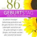 Schlichte Geburtstagskarte mit Sonnenblumen zum 86. Geburtstag