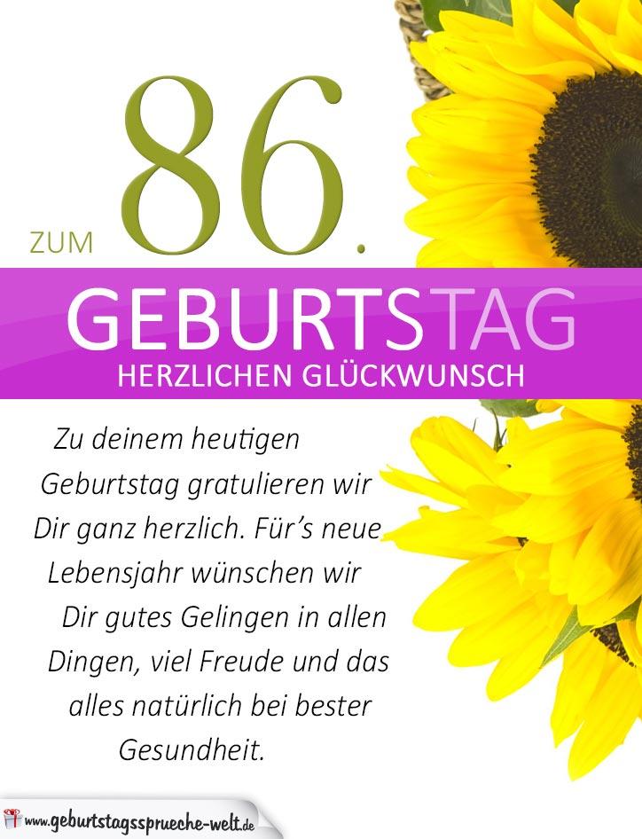 Schlichte geburtstagskarte mit sonnenblumen zum 86 geburtstag geburtstagsspr che welt - Ideen zum 90 geburtstag ...