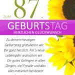 Schlichte Geburtstagskarte mit Sonnenblumen zum 87. Geburtstag