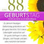 Schlichte Geburtstagskarte mit Sonnenblumen zum 88. Geburtstag