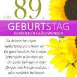Schlichte Geburtstagskarte mit Sonnenblumen zum 89. Geburtstag