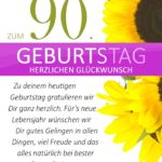 Schlichte Geburtstagskarte mit Sonnenblumen zum 90. Geburtstag