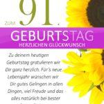 Schlichte Geburtstagskarte mit Sonnenblumen zum 91. Geburtstag