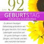 Schlichte Geburtstagskarte mit Sonnenblumen zum 92. Geburtstag