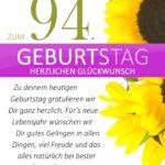 Schlichte Geburtstagskarte mit Sonnenblumen zum 94. Geburtstag