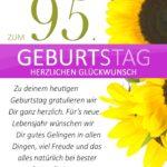 Schlichte Geburtstagskarte mit Sonnenblumen zum 95. Geburtstag
