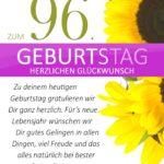 Schlichte Geburtstagskarte mit Sonnenblumen zum 96. Geburtstag