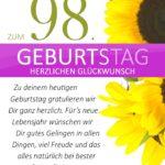 Schlichte Geburtstagskarte mit Sonnenblumen zum 98. Geburtstag