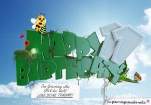 11. Geburtstag - Happy Birthday 3D Text