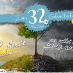 32. Geburtstag - Geburtstagskarte 12 Monate Sonnenschein