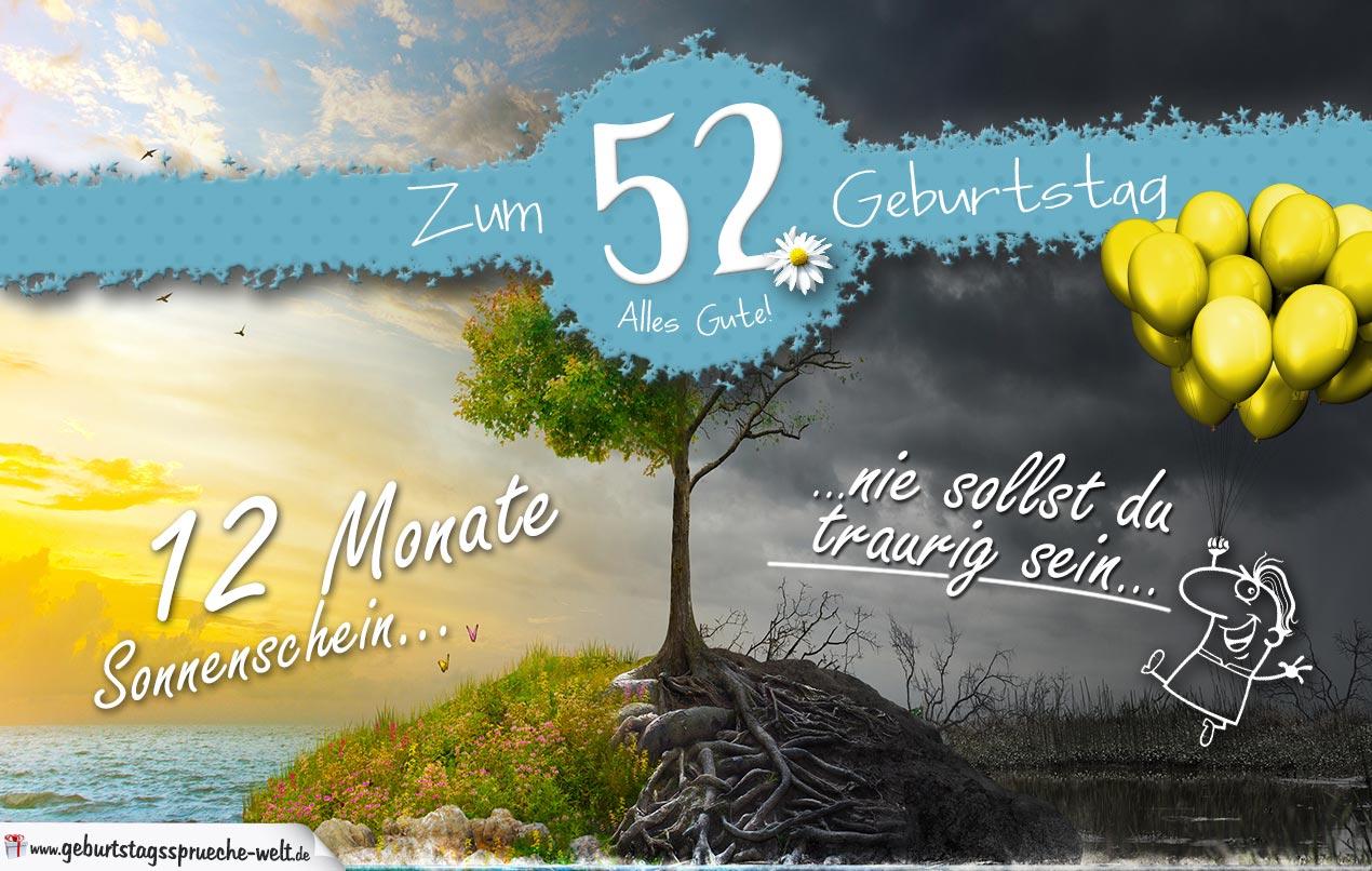 52. Geburtstag - Geburtstagskarte 12 Monate Sonnenschein