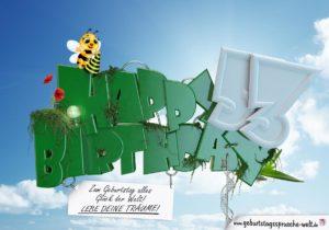 53. Geburtstag - Happy Birthday 3D Text
