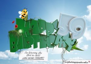 59. Geburtstag - Happy Birthday 3D Text