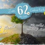62. Geburtstag - Geburtstagskarte 12 Monate Sonnenschein