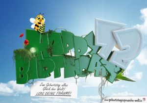 72. Geburtstag - Happy Birthday 3D Text