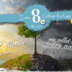 8. Geburtstag - Geburtstagskarte 12 Monate Sonnenschein