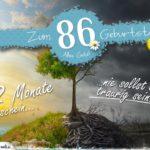 86. Geburtstag - Geburtstagskarte 12 Monate Sonnenschein