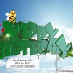 Geburtstagskarte mit Biene und Schmetterling und schönem Spruch