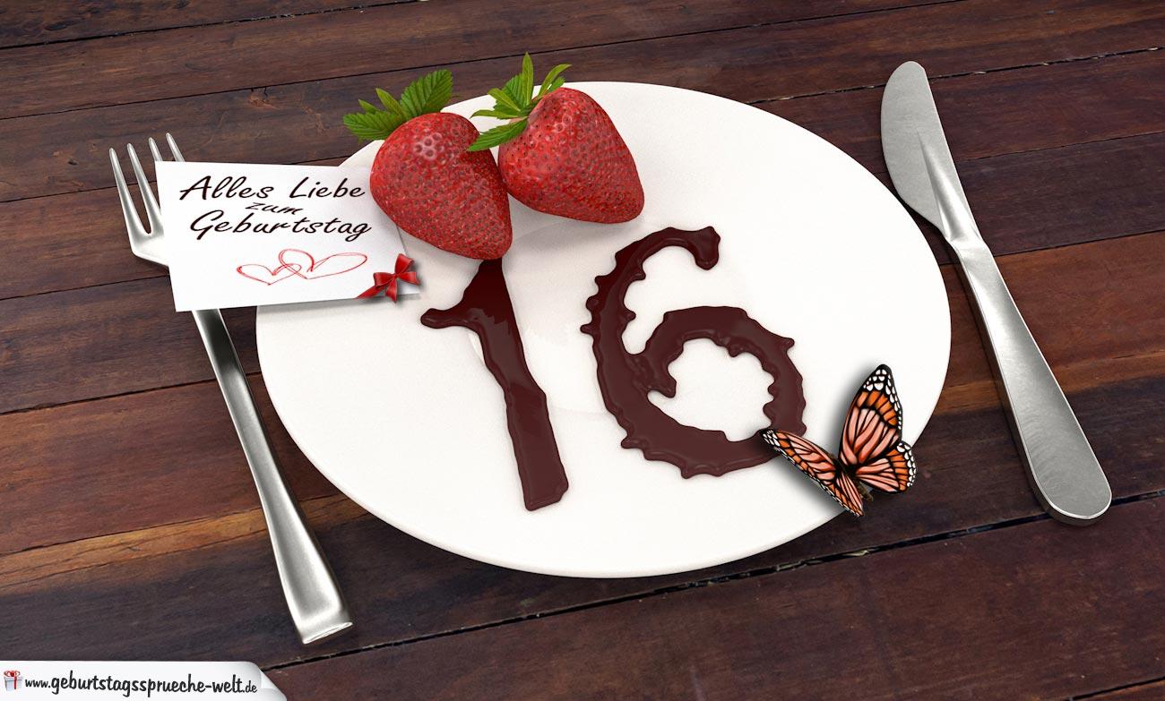 geburtstagskarte mit erdbeeren und schokolade zum 16. geburtstag