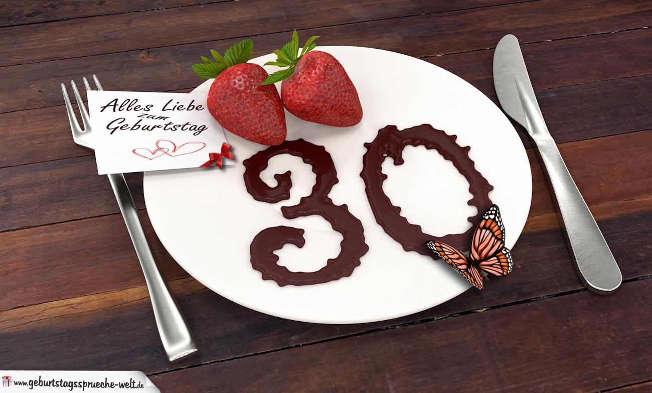 geburtstagskarte mit erdbeeren und schokolade zum 30. geburtstag