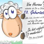 Geburtstagskarte mit Schaf - 13. Geburtstag