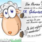 Geburtstagskarte mit Schaf - 18. Geburtstag