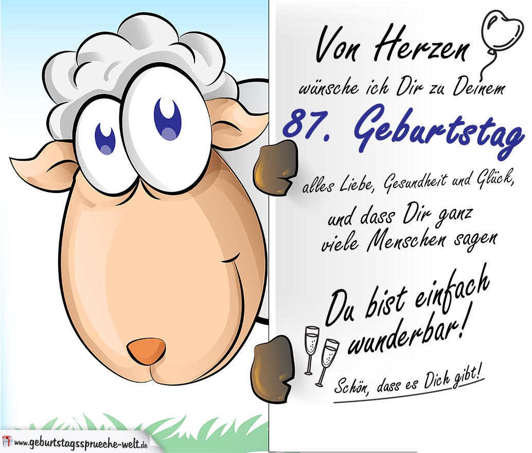 Geburtstagskarte mit Schaf   87. Geburtstag   Geburtstagssprüche Welt