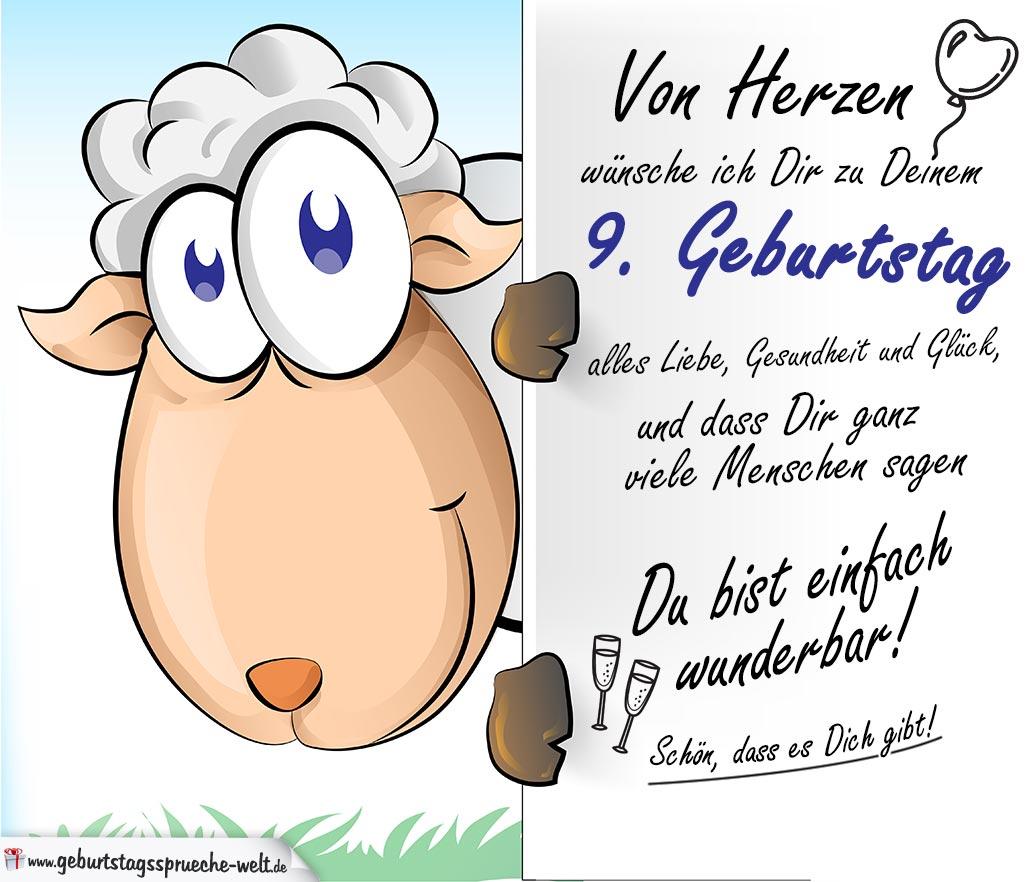 Geburtstagskarte Mit Schaf 9 Geburtstag