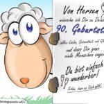 Geburtstagskarte mit Schaf - 90. Geburtstag