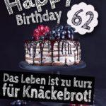 Geburtstagstorte 62. Geburtstag Happy Birthday