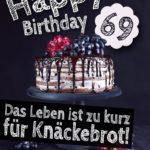 Geburtstagstorte 69. Geburtstag Happy Birthday