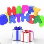 Happy Birthday Karte mit Geschenken