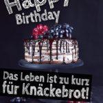 Lustige Geburtstagskarte - Kuchen statt Knäckebrot