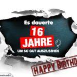 16. Geburtstag Lustige Geburtstagskarte kostenlos