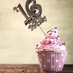 16. Geburtstag Muffin Geburtstagskuchen Happy Birthday