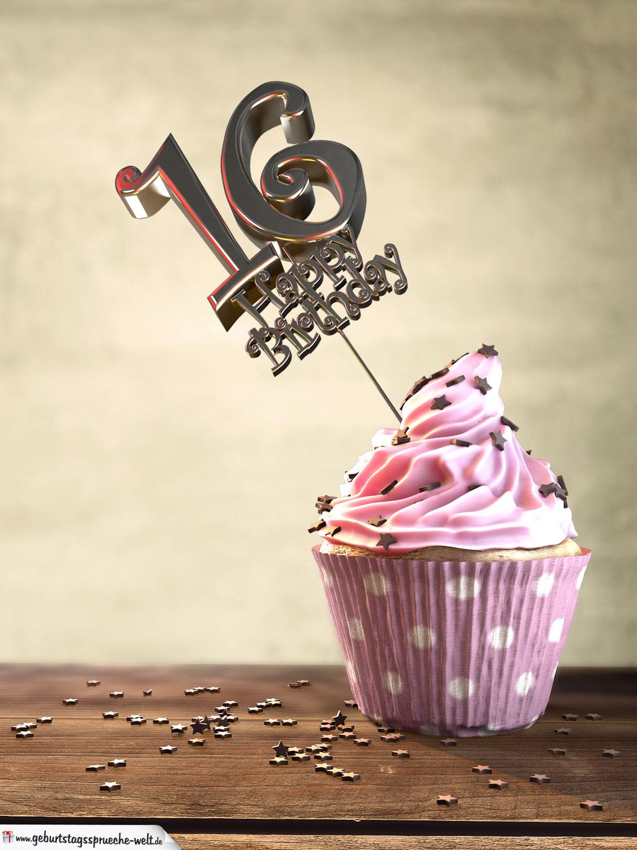 16 Geburtstag Muffin Geburtstagskuchen Happy Birthday