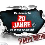 20. Geburtstag Lustige Geburtstagskarte kostenlos