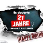 21. Geburtstag Lustige Geburtstagskarte kostenlos