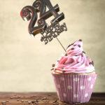 24. Geburtstag Muffin Geburtstagskuchen Happy Birthday