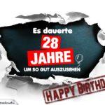 28. Geburtstag Lustige Geburtstagskarte kostenlos