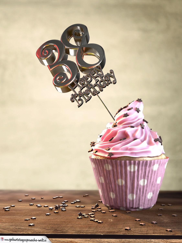 Muffin Geburtstagskuchen Karte Happy Birthday Geburtstagsspruche