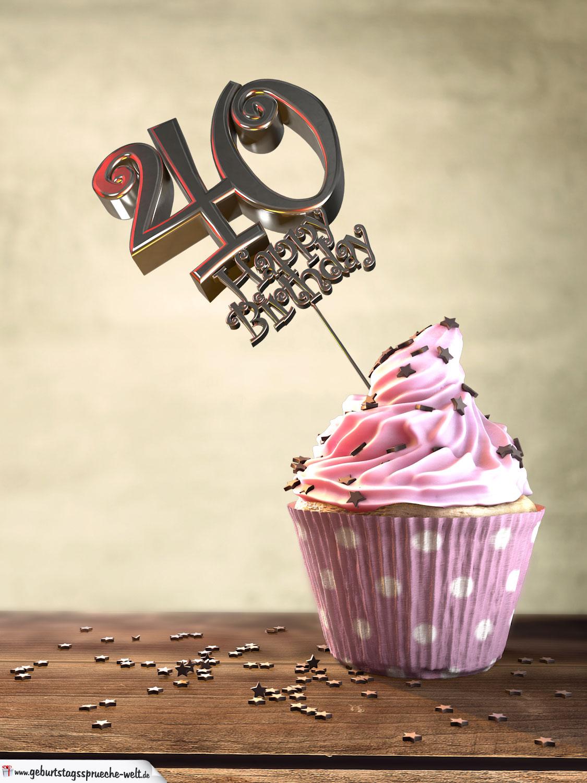 40 geburtstag muffin geburtstagskuchen happy birthday. Black Bedroom Furniture Sets. Home Design Ideas
