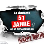 51. Geburtstag Lustige Geburtstagskarte kostenlos