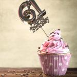 61. Geburtstag Muffin Geburtstagskuchen Happy Birthday