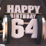 64. Geburtstag Karte Happy Birthday Kopfhörer